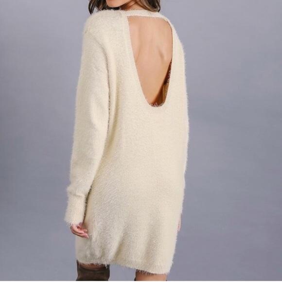 48de570d2b7 Gianni Bini fuzzy gray sweater dress open back NWT